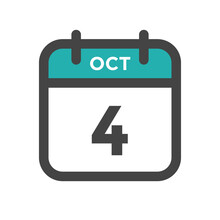 October 4 Calendar Day Or Calender Date For Deadlines Or Appointment
