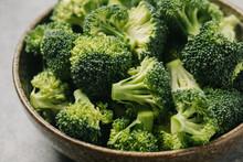 Closeup Of Broccoli Florets In A Bowl