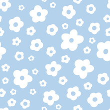 Ditsy Floral Seamless Pattern. Small White Meadow Flowers On Sky Blue Background. Vintage Millefleur Tiny Wildflower Motif. Vector Texture For Fashion, Nursery Print, Textile, Fabric, Wrap, Gift Paper