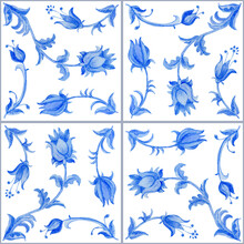 Watercolor Painted Indigo Blue Floral Seamless Pattern With Grey Seams Isolated On A White Background. Tile With Hand Drawn Baroque Scrolls, Flowers, Leaves And Branches