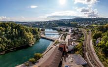 Schaffhausen Mit Rhein In Richtung Rheinfall Und Neuhausen Am Rhein