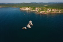 Drone View Of The Sharp Cliffs In The Sea