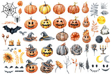 Set Of Elements For Design Of The Holiday Happy Halloween, Good And Evil Pumpkin, Witch Hat, Bat, Sunflowers Flowers, Fallen Leaves, Spider Web. Watercolor Illustration Isolated On White Background