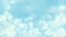 Realistic Blue Sky With Clouds Vector.