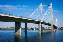 Cable-stayed Bridge Over Columbia River In Tri-Cities Washington State