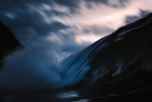 Wave Breaking With Slow Exposure Under Clouds