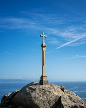 Cross Sculpture Viewpoint In Finisterre With Sea Landscape Background