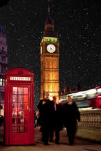 Men In Suits Walk Below Big Ben Next To Telephone Booth And Red Bus.