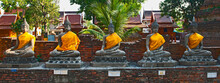 Buddhas At The Ancient Temple Of Wat Yai Chai Mongkhon In Ayutthaya