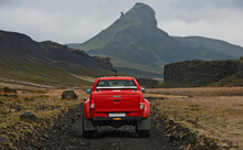 Modified Pick Up Truck Driving On The Icelandic Highlands