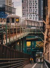 Railway Station New York City Classic View Queens Bridge Train