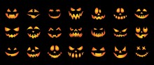 A Set Of Creepy, Scary Emotions, Emoticons For Halloween. Face Design For Festive Pumpkins. Icons Of Frightening Facial Expressions. Symbols Of The Holiday. Vector Illustration
