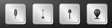 Set Indian Feather, Crossed Arrows, Shovel And Location Cowboy Icon. Silver Square Button. Vector