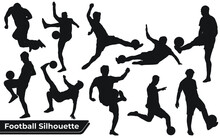 Collection Of Football Playing Silhouettes In Different Positions