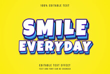 Smile Everyday,3 Dimensions Editable Text Effect Purple Gradation Blue Comic Layers Shadow Text Style