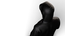 Anonymous Hacker With Black Toon Color Hoodie In Shadow Under White Lighting Background. Dangerous Criminal Concept Image. 3D CG. 3D Illustration. 3D High Quality Rendering.