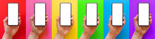 Mockup Of Mobile Phone In Hand, Set Of Images On Different Bright Colored Backgrounds
