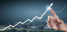 Touching Graphs Of Financial Indicator And Accounting Market Economy Analysis Chart