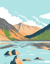 Art Deco Or WPA Poster Of Wasdale Head And Wast Water In The Lake District National Park In Cumbria, England, UK Done In Works Project Administration Style.