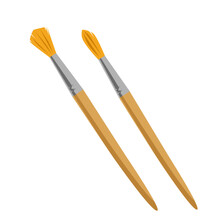 Two Paint Brushes With A Wooden Handle And Orange Wide Bristles In Cartoon Style, Isolated On A White Background