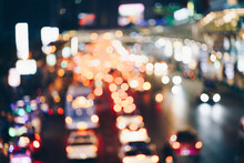 Abstract Bokeh Blurred In Downtown City Road With Car Tonned Image