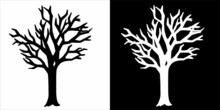 Set Of Silhouettes Of Trees. Hand Drawn Isolated Illustration