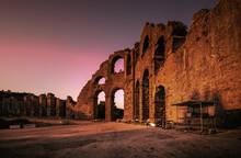 Ruins Of The Ancient Roman Aqueduct In Turkey.Su Kemeri,Aspendos 2021.