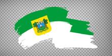 Flag Of Rio Grande Do Norte From Brush Strokes. Federal Republic Of Brazil. Waving Flag Rio Grande Do Norte Of Brazil On Transparent Background For Your Web Site Design, App, UI.  EPS10.