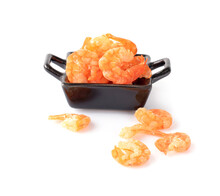Dried Shrimp On White Background