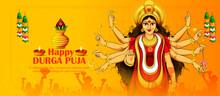 Illustration Of Goddess Durga In Happy Durga Puja Shubh Navratri