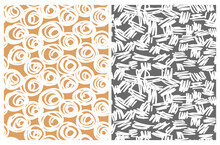Cute Abstract Seamless Vector Patterns With White Irregular Brush Circles And Lines Isolated On A Gold And Dark Gray Background.Infantile Style Geometric Print.Abstract Doodle Pattern.Scribbles Print.