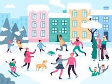 Winter City Activities. Snow Outdoors People Walking, Family Holidays Fun And Urban Events Vector Illustration