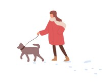 Child Walking With Dog In Winter. Kid Leading Puppy On Leash In Cold Weather With Snow. Girl, Pet Owner Strolling With Doggy In Wintertime. Flat Vector Illustration Isolated On White Background