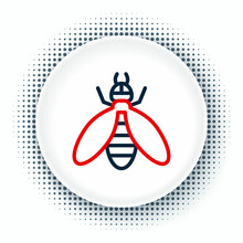 Line Bee Icon Isolated On White Background. Sweet Natural Food. Honeybee Or Apis With Wings Symbol. Flying Insect. Colorful Outline Concept. Vector