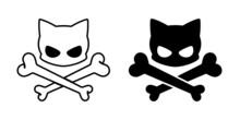 Skull Crossbones Vector Cat Halloween Kitten Ghost Calico Icon Logo Symbol Cartoon Character Illustration Doodle Design