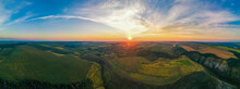 Aerial Drone Panorama View Of Nature In Moldova At Sunset