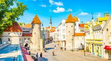 Viru Gate Towers In Tallinn Old Town, Estonia