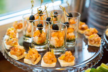Mini Seafood Sandwiches And Shrimp In Small Cups. Delicious Snacks.