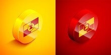 Isometric Old Film Movie Countdown Frame Icon Isolated On Orange And Red Background. Vintage Retro Cinema Timer Count. Circle Button. Vector