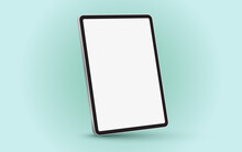 Black 3D Realistic Tablet PC Mockup Frame With Angle Blank Screen.