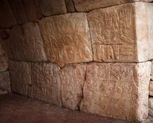 Archeological Reliefs In Hattusa City, Ancient Hittite Empire - Corum, Turkey. 1700 To Circa 1200 Bc.