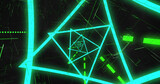 Image of blue neon triangular spiral and green dots and lines moving on black background