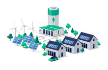 Smart Grid Virtual Battery Energy Storage Network With Urban Residence House Buildings, Solar Panel Plant, Wind And Li-ion Electricity Backup. Electric Car Charging On Renewable Power Supply System.