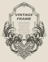 Illustration Antique Engraving Frame Monochrome Style