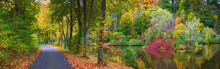 Autumnal, Colorful Landscape Panorama At The Lake