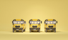 Many School Bus Isolated On Pastel Yellow Background, Concept Of Going Back To School. Simple Isolated School Illustration. Trendy 3d Render For Social Media Banners, Promotion, Flyer