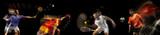 Sportsmen playing basketball, tennis, soccer football, gymnastics on black background in mixed light.