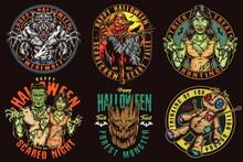 Halloween Night Colorful Vintage Logotypes