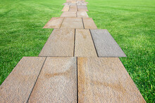 New Paving In A Public Park Made With Stone Blocks In A Pedestrian Zone And Fresh Green Lawn - Symmetrical And Regular Composition