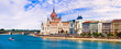 canvas print picture - Beautiful Budapest - panoramic view woth Parliament. Hunagry